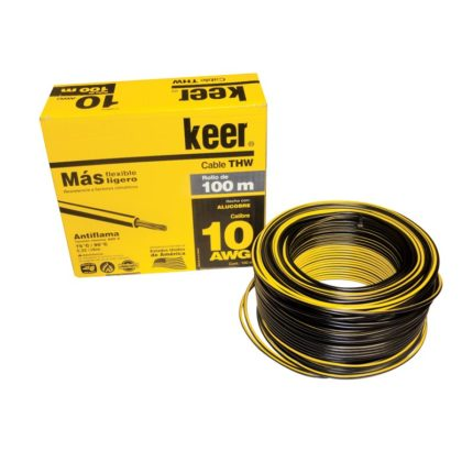 Cable Eléctrico keer 10 AWG Negro